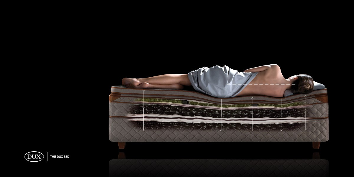 Spinal alignment lying on a DUX bed